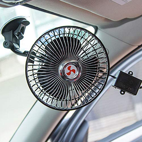 HOUTBY 12V Dashboard Oscillating Cooling Air Vehicle Car Van Truck Home Sucker Fan
