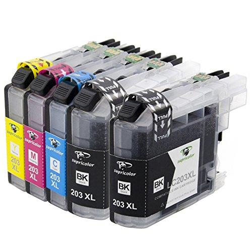 [With Newest Chips] Supricolor 1 Set+1 BK Brother LC203 LC203XL Brother LC203 XL Compatible Ink Cartridges For Brother MFC-J4320DW MFC-J4420DW MFC-J4620DW MFC-J5520DW MFC-J5620DW MFC-J5720DW