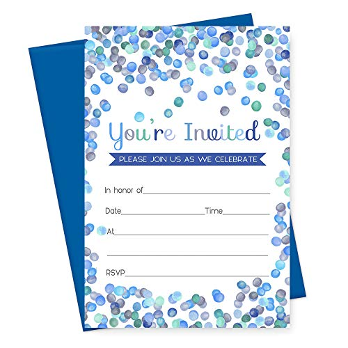 Blue Confetti Party Invitations with Cobalt Envelopes - Set of 15 (Invite Mod)