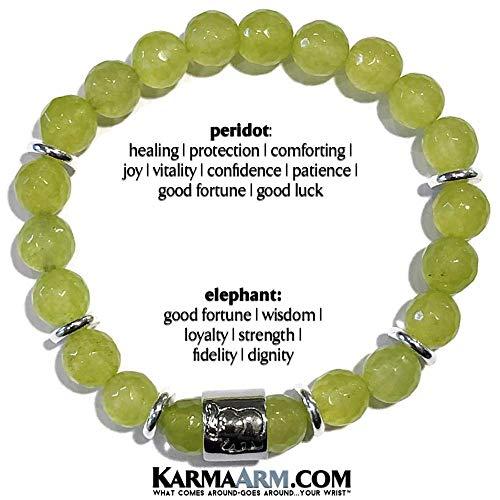 Davidson Harley Bracelet White (Lucky Elephant Jewelry STRENGTH: Peridot ॐ Yoga Chakra Stretch Beaded Charm Bracelets | Reiki Healing Energy Meditation Jewelry)