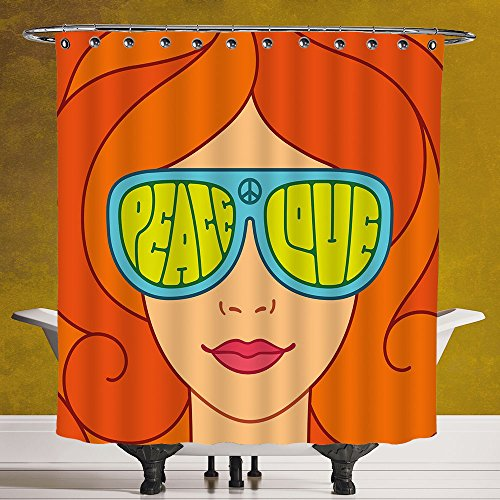 Unique Shower Curtain 3.0 by SCOCICI [ 70s Party Decorations,Red Hair Girl with Sunglasses Retro Typography Hippie Love and Peace,Multicolor ] Machine Washable,Shower Hooks are - Secret Service Sunglasses Used By