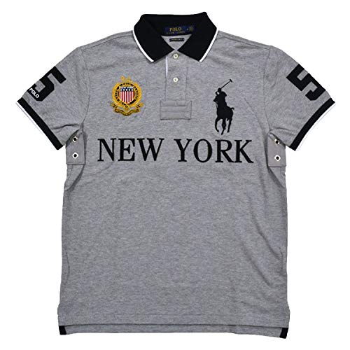 (Polo Ralph Lauren Mens Custom Slim Fit Mesh City Polo Shirt (Medium, Gray New)