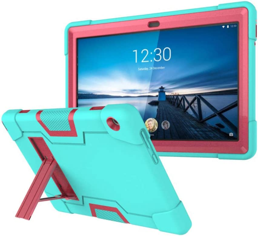 """Koolbei Case for Lenovo Tab M10 10.1 Case, Heavy-Duty Drop-Proof and Shock-Resistant Rugged Hybrid case(with Built-in Stand), for Lenovo Tab M10 TB-X605F 10.1"""" case (Aqua/Pink)"""