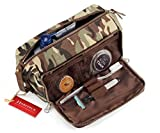 DOPP Kit Mens Toiletry Travel Bag YKK Zipper Canvas & Leather (Large, Woodland Camo)