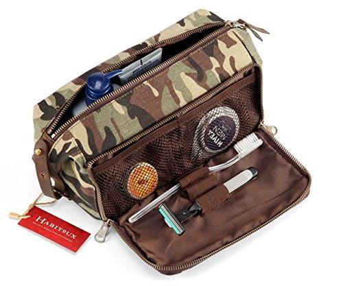 DOPP Kit Mens Toiletry Travel Bag YKK Zipper Canvas & Leather (Large, Woodland Camo) by Habitoux (Image #1)