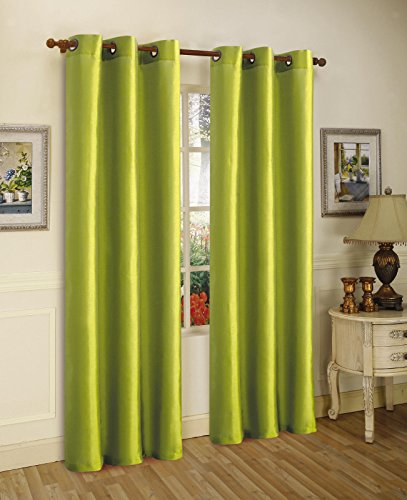 Gorgeous Home 1 PANEL SOLID LIME GREEN SEMI SHEER WINDOW FAUX SILK ANTIQUE BRONZE GROMMETS CURTAIN DRAPES MIRA AVAILABLE IN DIFFERENT SIZES (84