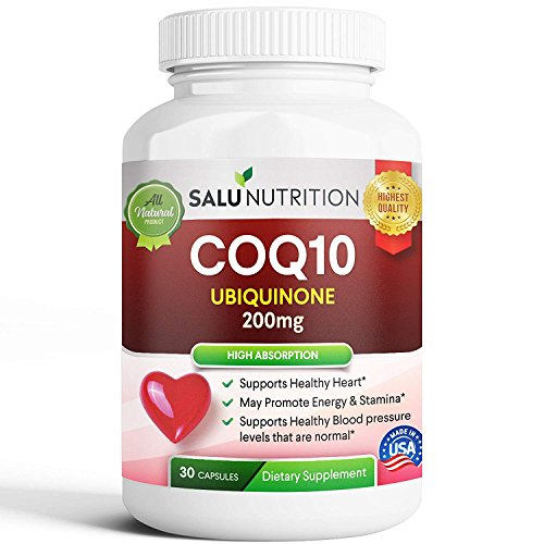 Pure CoQ10 (High Potency 200mg) – High Absorption CoQ-10 Enzyme Ubiquinone Supplement Pills, Extra Antioxidant Coenzyme Q10 Vitamin Tablets, CoQ 10 for Healthy Blood Pressure & Heart