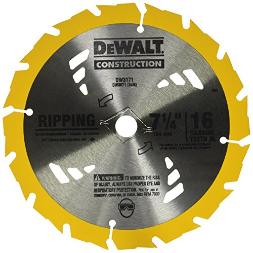 DEWALT DW3571 7-1/4 16T Carbide Thin Kerf Circular Saw Blade ()