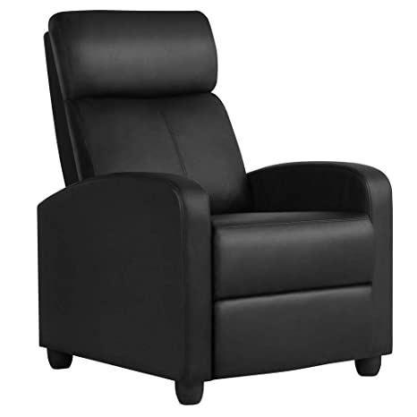 Yaheetech Recliner Chair PU Leather Recliner Sofa Lazy Boy Home Theater  Seating with Lumbar Support Overstuffed High-Density Sponge Push Back ...