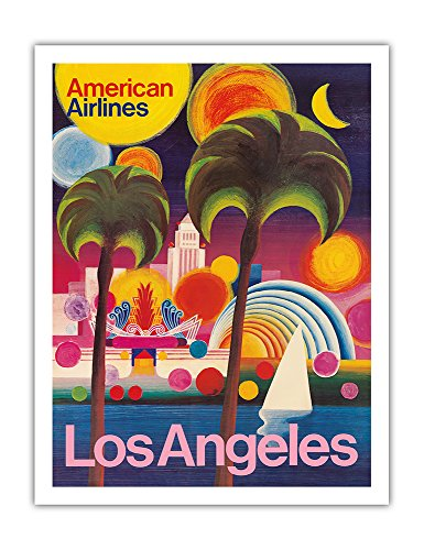 Pacifica Island Art Los Angeles, California - American Airlines - Vintage Airline Travel Poster c.1960s - Fine Art Print - 20in x 26in