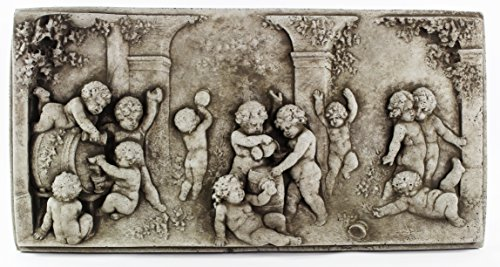 Fleur de Lis Garden Ornaments LLC Happy Cherubs Concrete Wall Plaque Cement European Art Decorative Cast Stone Religious Figure Catholic Sculpture Hanging Plaque