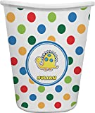 RNK Shops Dots & Dinosaur Waste Basket - Double Sided (White) (Personalized)