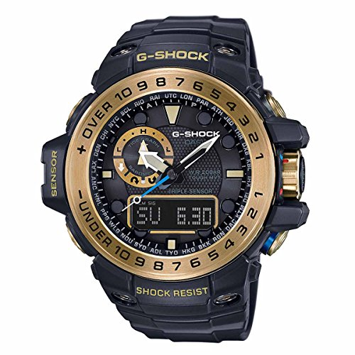 G-Shock GWN-1000GB Master of G Series Stylish Watch - Black and Gold / One Size by Casio