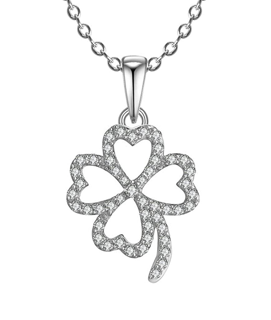 AMDXD Jewelry Silver Plated Women Custom Necklace Cubic Zirconia Clover Cubic Zirconia as Birthday Gift