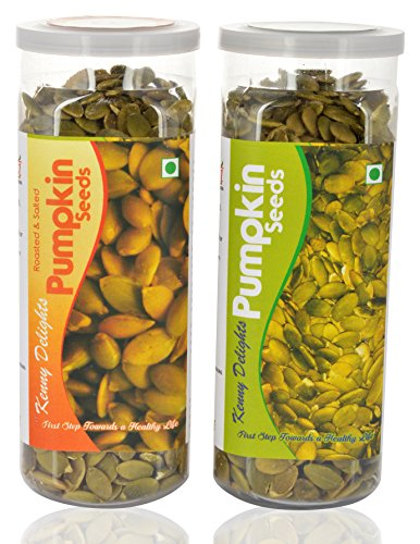 Kenny Delights Roasted Pumpkin Seeds and Pumpkin Seeds, 300 grams (Combo of 2)