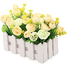 JAROWN Silk Flowers Artificial Rose with White Picket Fence Mini Garden Wooden Vase for Desk Wedding Decor(Yellow)