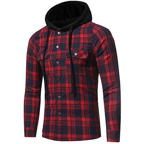 POHOK Men's Autumn Winter Long Sleeved Plaid Hooded Shirt Top Blouse (XX-Large,Red)
