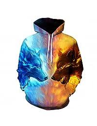 Ice Fire Wolf Hoodies 3D Men Women Sweatshirts Pullover Autumn Tracksuits Outwear