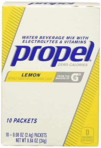 PROPEL Water Beverage Mix Powder Packets With Electrolytes and Viatmins, Lemon, 0.84 Ounce, 10-Count