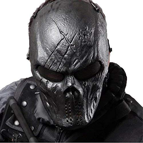 (Tactical Mask Skull Full Face with Metal Mesh Eye Protection-Airsoft/BB Gun/CS Game-Zombie Masks Heads Scary for Cosplay Party Halloween Tricky)