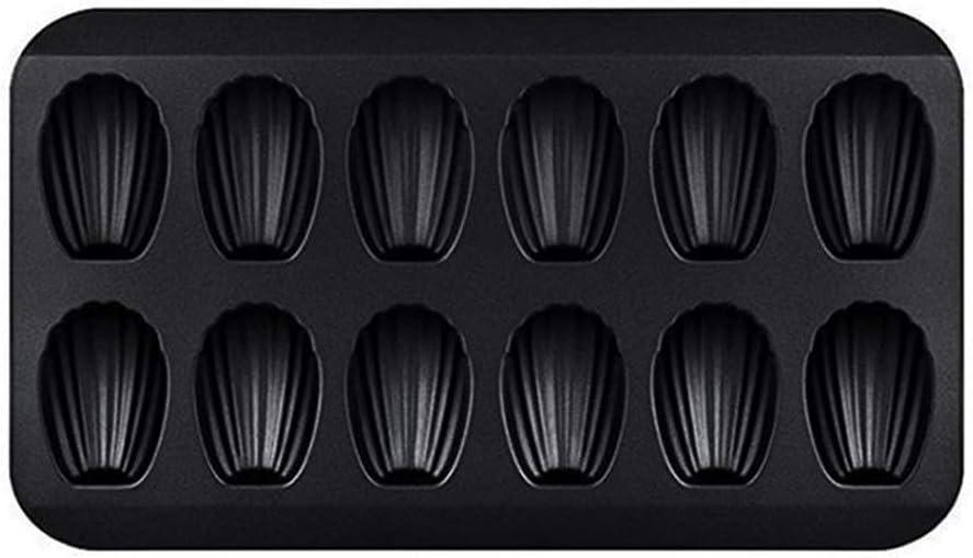 12-Cup-Black Non-Stick Madeleine Tray,Madeleine Pan,Carbon Steel