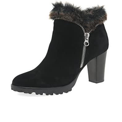 08dc2c88459 Caprice Footwear - Suede Fur Trim Ankle Boot, Black
