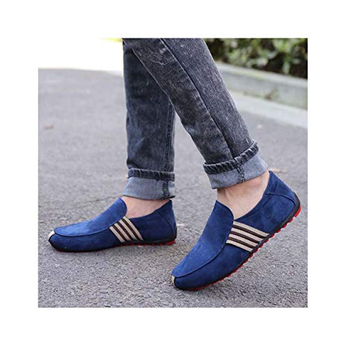 KKEPO& 2019 New Spring Men Suede Leather Loafers Driving Shoes Moccasins Summer Men's Casual Shoes Flat Breathable Lazy Flats Blue 42
