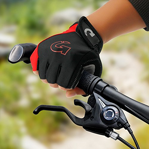 """Price comparison product image GEARONIC TM New Fashion Cycling Bike Bicycle Motorcycle Shockproof Outdoor Sports Half Finger Short Gloves - Red """"L"""""""