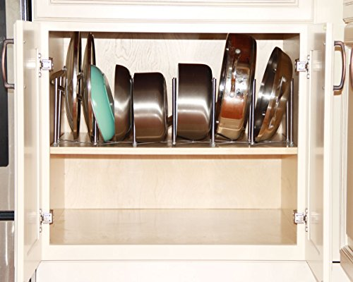 """Kitchen Pot Lid Plate Holder Rack Stainless Steel , 6 Sectional , Adjustable Length Accordion Style , Can Be Extended to 24"""""""