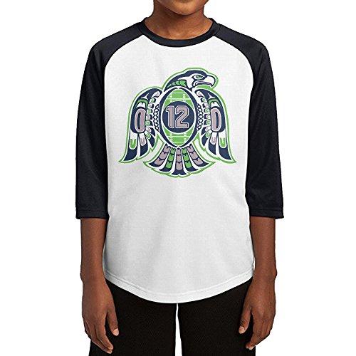 Hotboy19 Youth Boys Seattle Sport Football Logo Raglan Tee Baseball Shirt Black Size L (San Diego State Halloween Costumes)