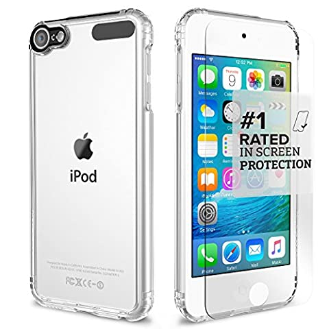 Apple iPod Touch 6th & 5th Generation Case, (Clear) SaharaCase Protective Kit includes [ZeroDamage Tempered Glass Screen Protector] Shock-Absorbing Bumper, Crystal Clear Scratch-Resistant Hard (16 Gb Ipod 5th Generation)
