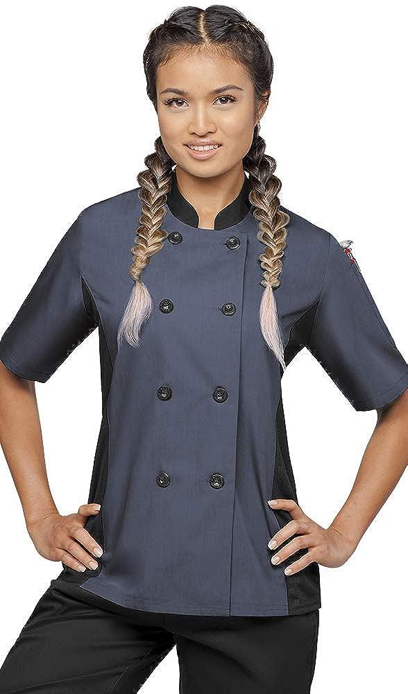 Women's Short Sleeve Chef Coat Mesh Side Panels (XS-3X, 4 Colors)
