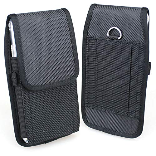 (aubaddy Vertical Nylon Pouch Holster with Belt Loop for iPhone Xs Max/iPhone 8 Plus / 7 Plus / 6s Plus / 6 Plus - Fit with a Thin Case (Black) )