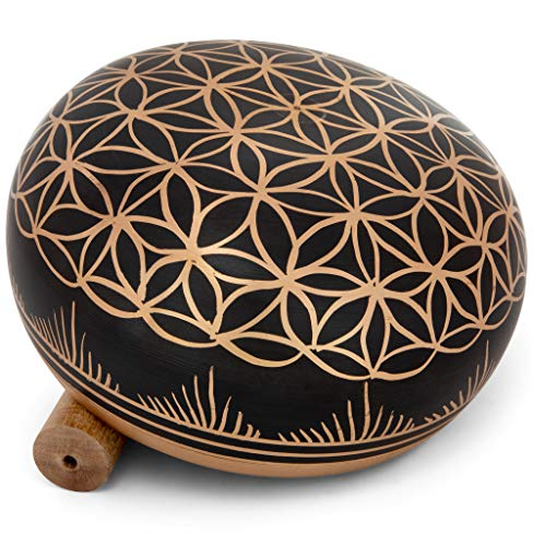 Meditative Flower of Life Design Singing Bowl with Mallet and Cushion - Tibetan Sound Bowls for Energy Healing, Mindfulness, Grounding, Zen, Meditation - Exquisite, Unique Home Decor and Gift Sets
