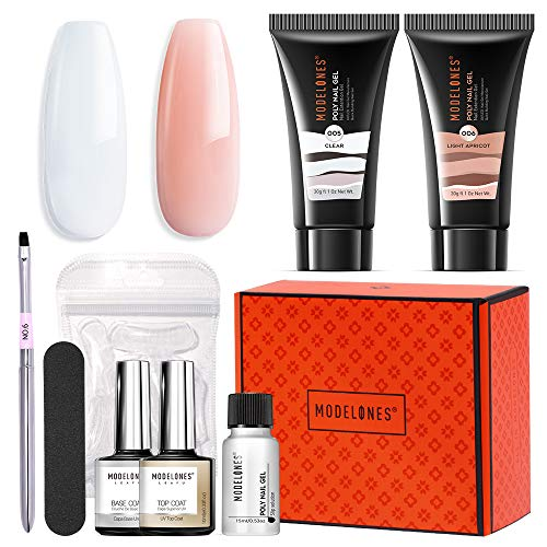 Modelones Poly Extension Gel Nail Kit 30ml 2PCS With Slip Solution Nude Clear Builder Gel Enhancement Professional Starter Kit All-in-One Nail Technician French Kit