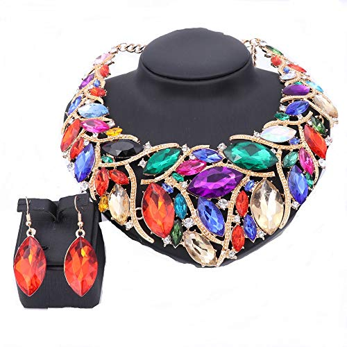 Crystal Statement Necklace (African Beads Jewelry Sets Women Bridal Crystal Statement Necklace Earring Jewelry Sets (Colorful))
