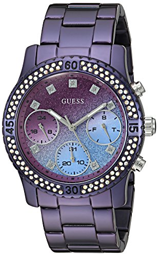 Buckle Dial Stainless Steel (GUESS Women's U0774L4 Sporty Purple Watch with Purple Dial, Crystal-Accented Bezel and Stainless Steel Pilot Buckle)