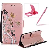 Strap Case for iPhone 5C,Smart Leather Cover for iPhone 5C,Herzzer Stylish Butterfly Flower Design Wallet Folio Case Full Body PU Leather Protective Stand Cover with Inner Soft Silicone Shell for iPhone 5C + 1 x Free Pink Cellphone Kickstand + 1 x Free Pink Stylus Pen - Rose Gold