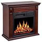 JAMFLY 26'' Mantel Electric Fireplace Heater Small Freestanding Infrared Quartz Fireplace Stove Heater w/Log Hearth& Wood Surround Firebox, Adjustable Led Flame, Remote Control,750W-1500W, (Brown)
