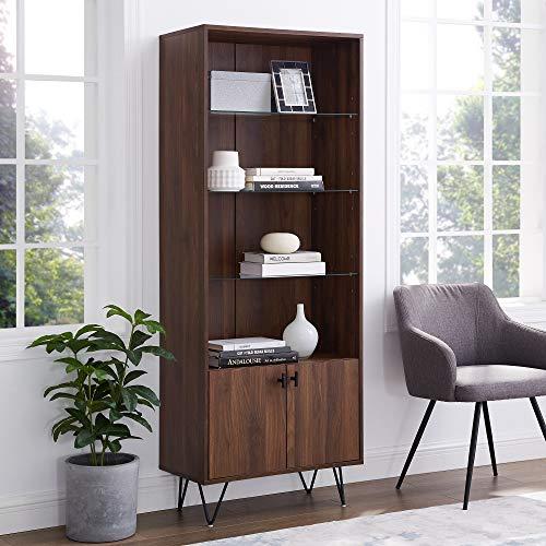Walker Edison Furniture Company Mid-Century Modern Tall Accent Cabinet Shelves Living Kitchen Dining Room Storage, 4 Shelf, Walnut Brown