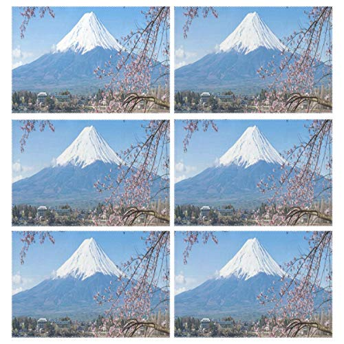 Heat Resistant Placemats for Kitchen Table Mats Dining Room,Japanese Style Mountain Fuji Cherry Blossom Crane Washable Insulation Non Slip Placemat 12x18 inch(6 pcs)