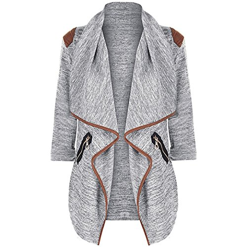 [XUANOU Womens Casual Knitted Long Sleeve Jacket Tops Irregular Outwear Plus Size Cardigan (3XL, Gray)] (Top Costumes Design Colleges)