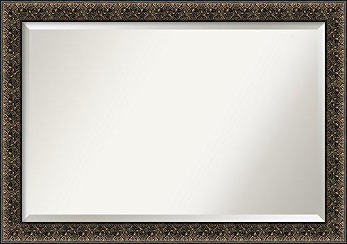 Amanti Art Vanity Bathroom Wall | Intaglio Embossed Black Frame | Solid Wood Mirror |, Glass Size 36x24,