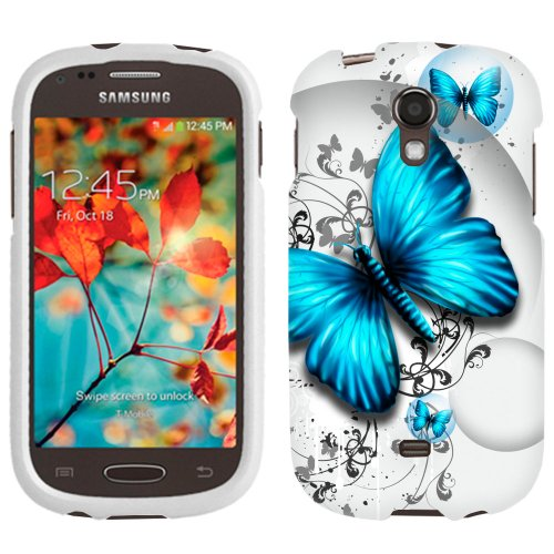 Samsung Galaxy Light Case, Snap On Cover by Trek Blue Butterfly Frim Case (Samsung Galaxy Light Phone Case compare prices)