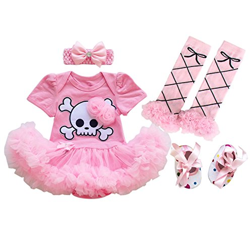 My 1st Halloween Outfit Baby Girls Pirate Skull Tutu Bodysuit Romper Dress with Ruffle Tulle Skirt + Bow Headband + Crib Shoes + Leg Warmers Clothes First Birthday Party Costume 4Pcs Set Pink 0-3M]()