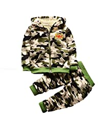 LNGRY Toddler Boy Girl Outfit Long Sleeve Tops Warm Camouflage Clothes Set Suit