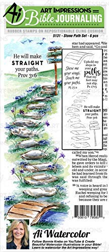 Art Impressions WC5131 Bible Journaling Watercolor Rubber Stamps-Stone Path