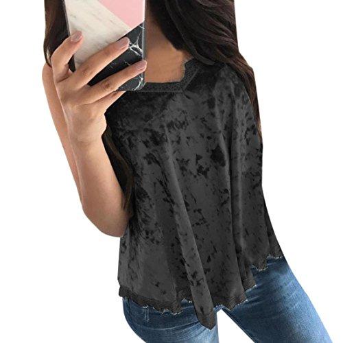 Coohole Women's Ladies Lace Camisole Strappy Vest Sleeveless Shirt Blouse Tank Tops (L, Black) (Classic Pleats Blouse)