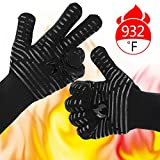 """BETLLEMORY Oven gloves,932℉ Extreme Heat Resistant BBQ Gloves Grill Gloves,13.5"""" Anti-Slip Oven mitts, Durability and Stretchy Aramid Cook&Kitchen&Industrial Heat Treatment Gloves (Black)"""
