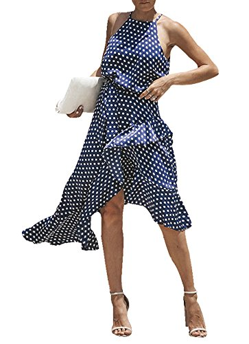 - TINHAO Women Halter Neck Polka Dot Print Spaghetti Strap Summer Swing Midi Dress (Navy Blue, XL)